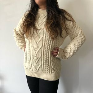 Kilspindie Cream Cable 100% Wool Sweater Size XL